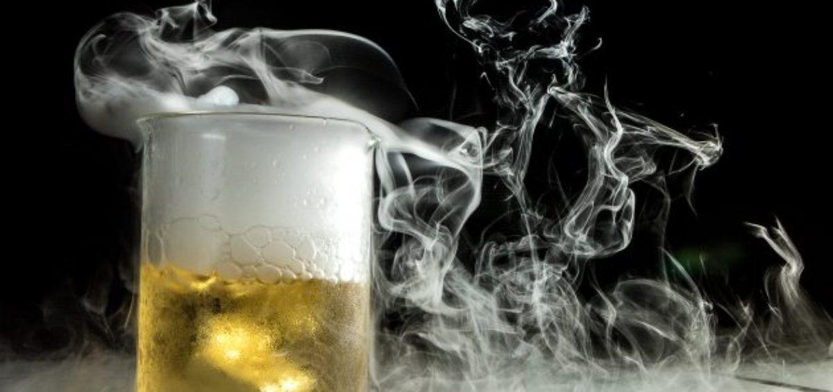 smoking beaker with beer in it