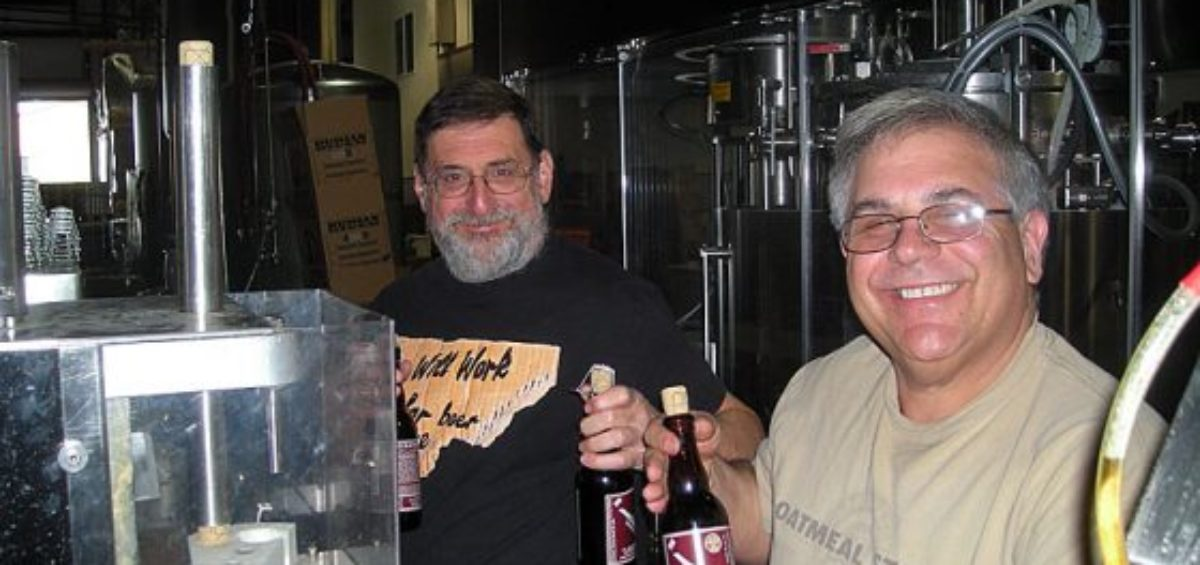 Pete Slosberg and Ari at Russian River Brewing bottling Consecration