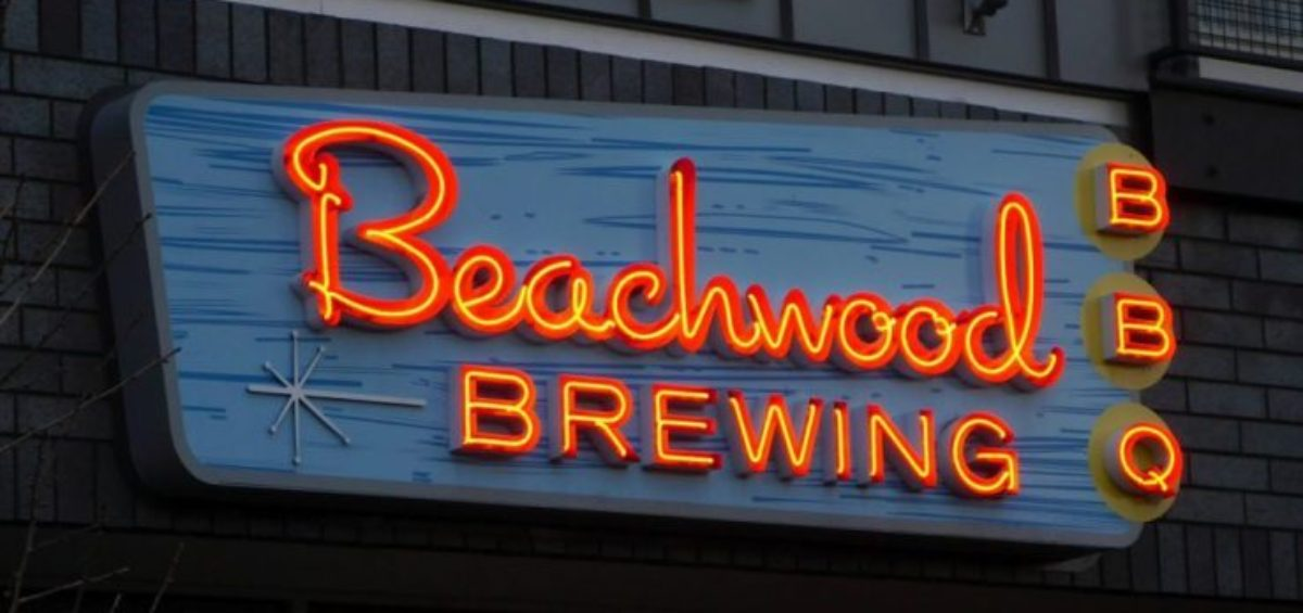 Beachwood Brewing neon sign at night