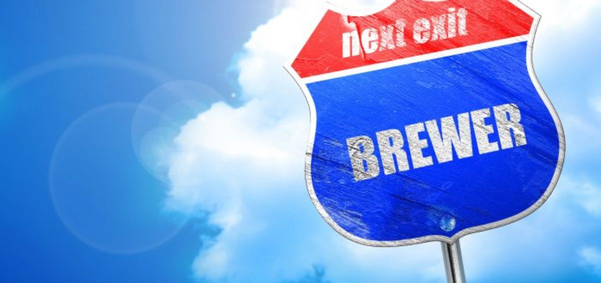 brewer, 3D rendering, blue street sign