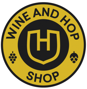 Wine and Hop Shop circle logo black on gold