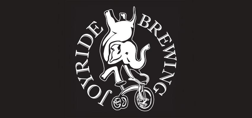 Joyride Brewing logo circular with white elephant on bike