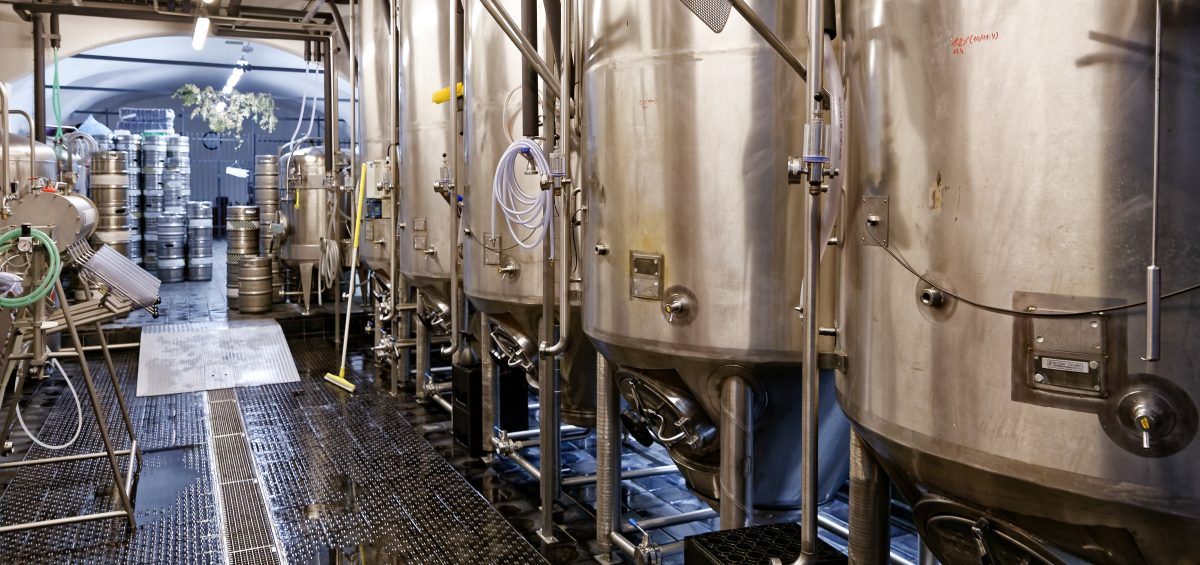 Fermenter tanks in microbrewery.