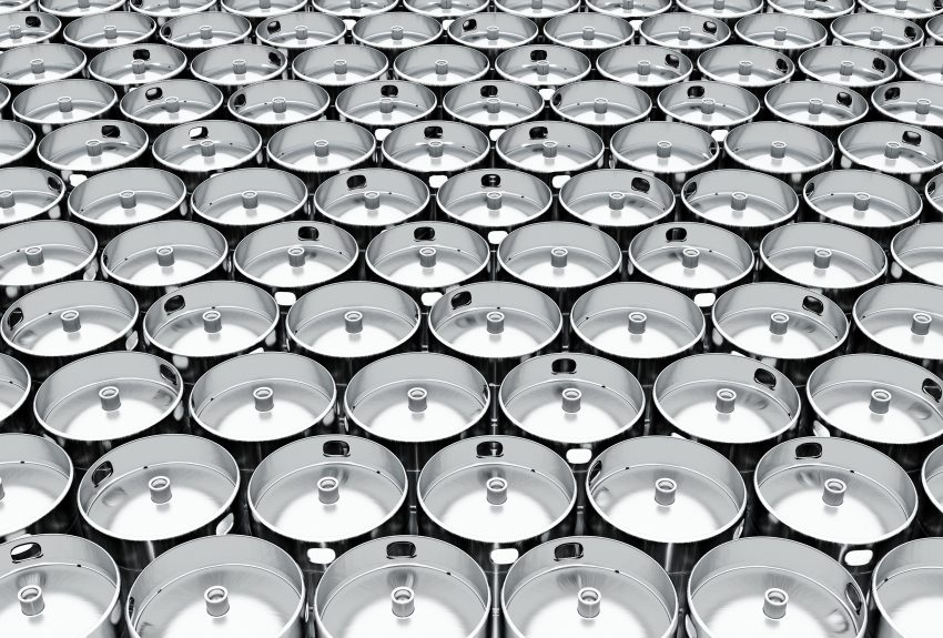 Beer kegs lined up side by side
