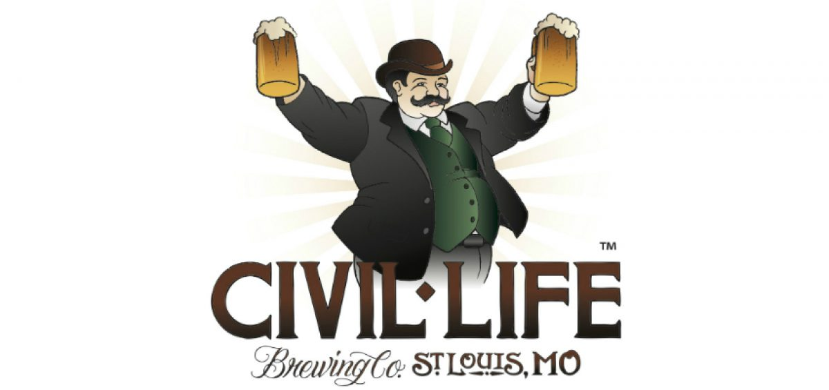 Civil Life Brewing Company logo of man holding two beer steins with text below him.