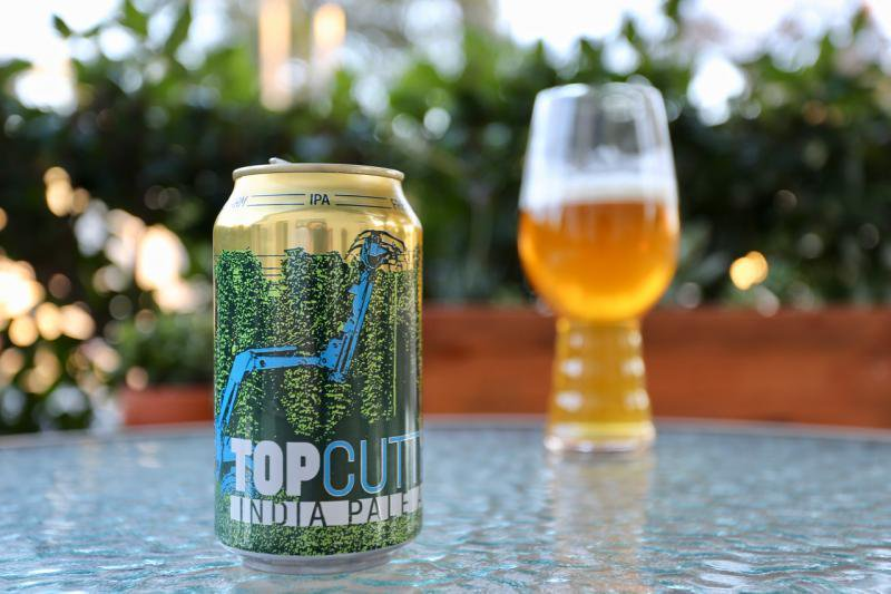 Bale Breaker Brewing Company Topcutter IPA in can with glass in background