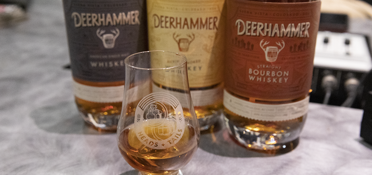 A grouping of spirits from Deerhammer Distilling on Heads and Tails podcast
