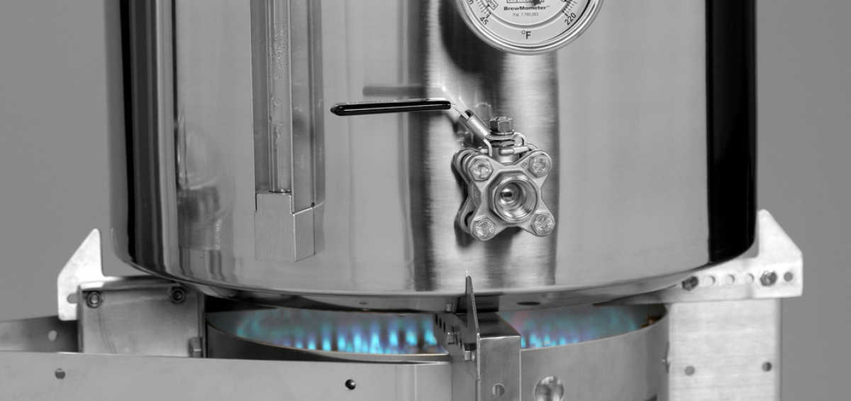 Blichmann Engineering Hellfire Brewing Burner with blue flame at bottom