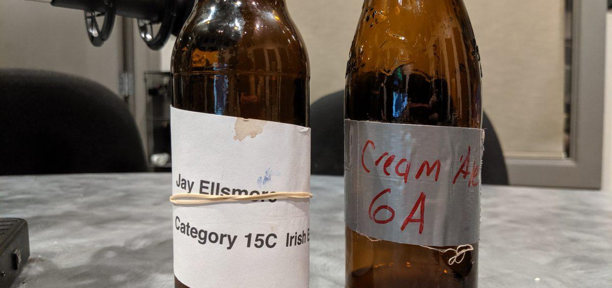 two bottles of homebrewed beer