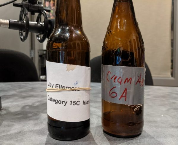 two bottles of homebrewed beer