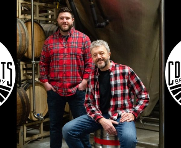 Common Roots Brewing Company photo of Christian and Bert Weber with logos on each side