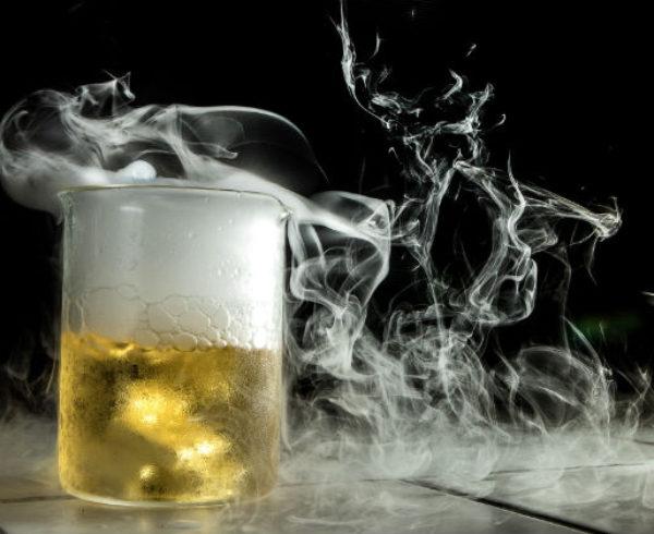 smoking beaker with beer inside