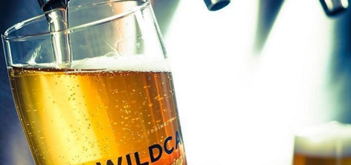 Wildcard Brewing Co beer glass with beer being poured