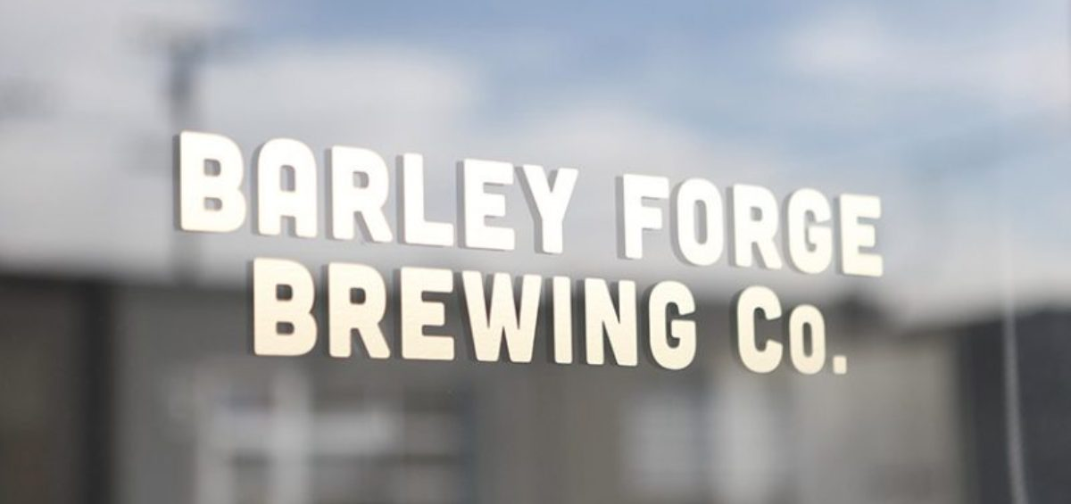 Text of Barley Forge Brewing Co. on window.