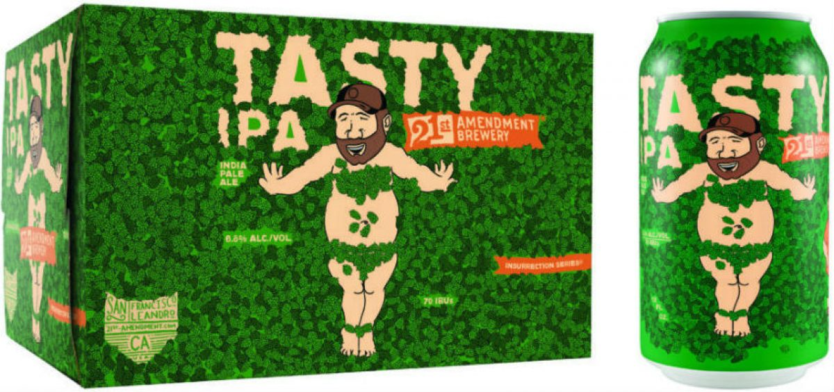 Tasty packaging by 21st Amendment Brewery with cartoon of Tasty character naked but covered in hops