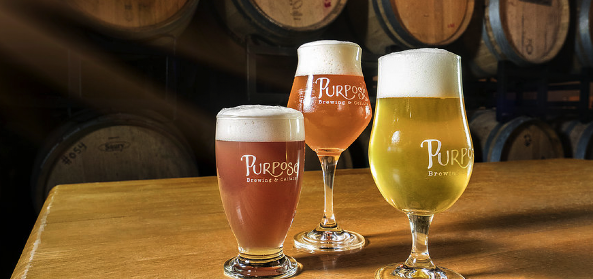 Purpose Brewing and Cellars three glasses with barrels in background