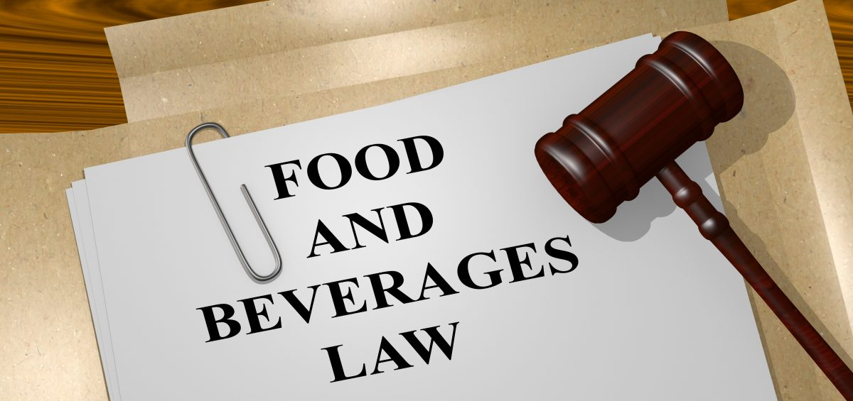 3D illustration of FOOD AND BEVERAGES LAW title on Legal Documents. Legal concept.