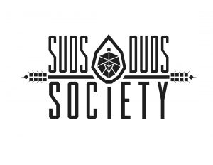Suds Duds Society text logo in black and white