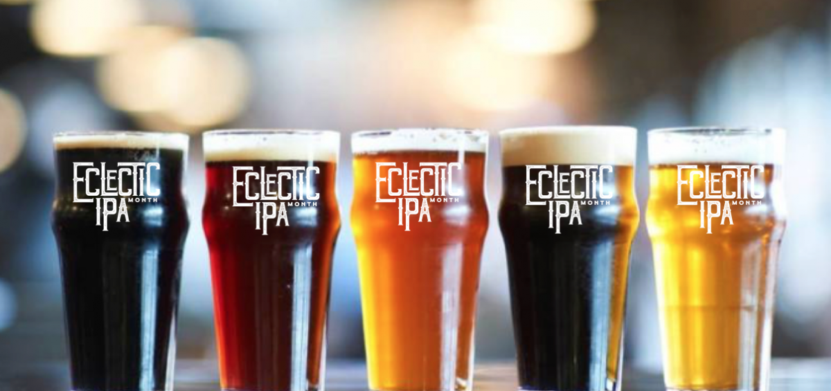 Eclectic IPA Month at 21st Amendment and Magnolia. Beers Lined up in logo glasses
