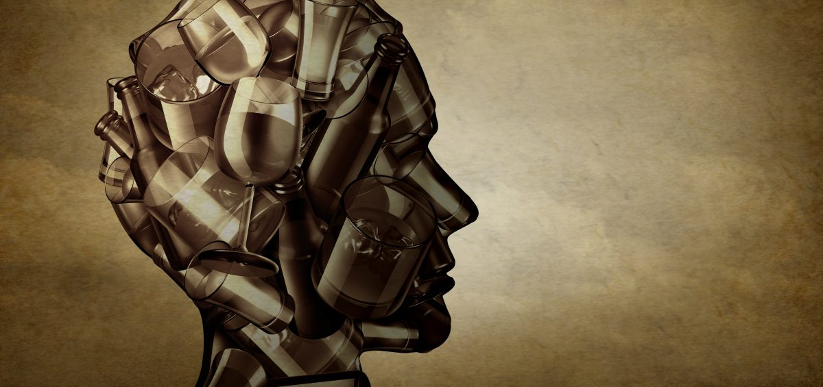 Graphic image of human head made up of beer and wine glasses