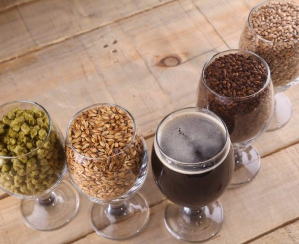 Glasses filled with dark beer, different malts and hops over a wooden background