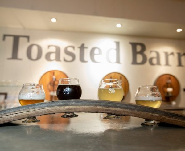 A flight of beers from Toasted Barrel brewery