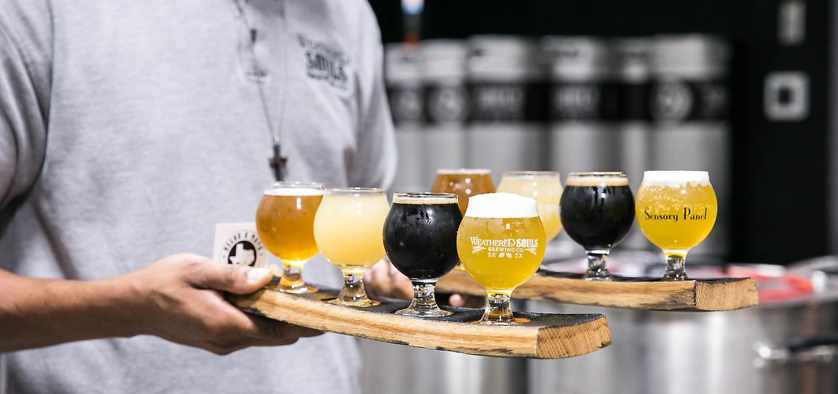 Weathered Souls Brewing Company flight of beers on tray