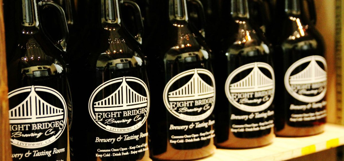 Eight Bridges Brewing Co. growlers on shelf