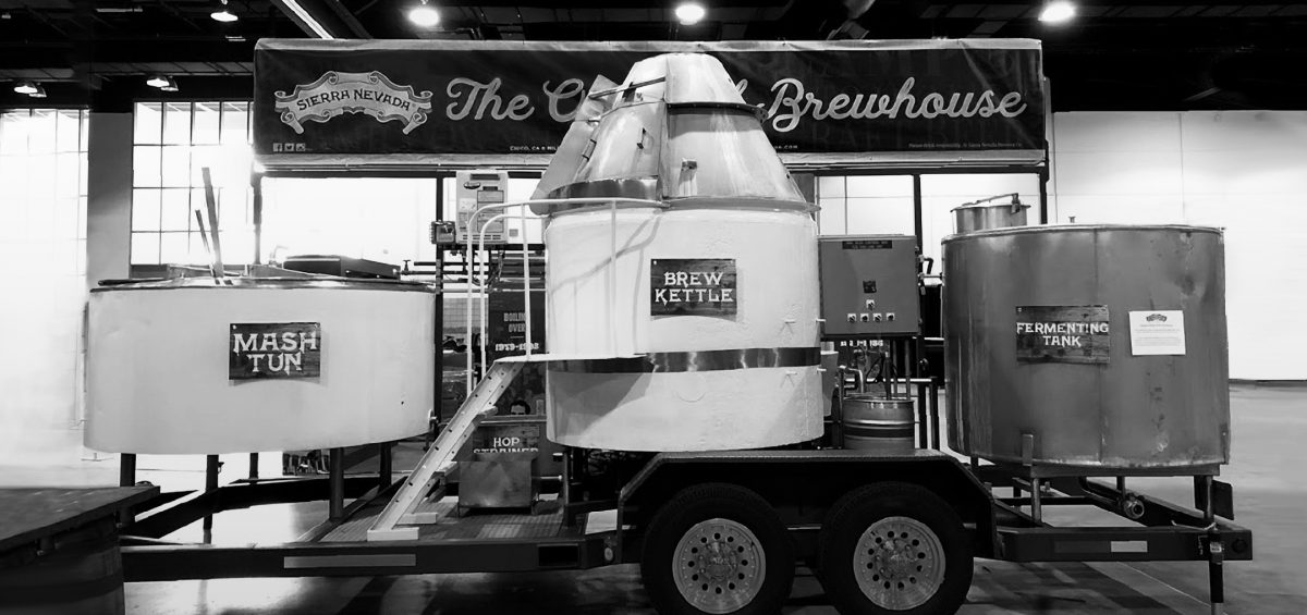 Sierra Nevada Brewing Company original brewhouse on trailer
